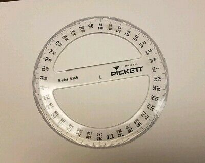 "Pickett 6360 Full Circle Protractor 6"" 360 Degree Plastic (14 available) FREE SH"