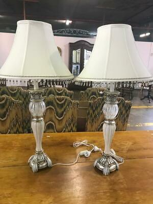 Pair Of Vintage Beautiful Ornate Silver Glass & Ceramic Table Lamps With Shades