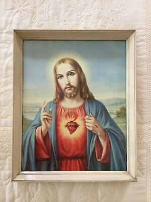 Vintage Retro Framed Print Jesus Christ Collectable Religious Catholic -Can Post