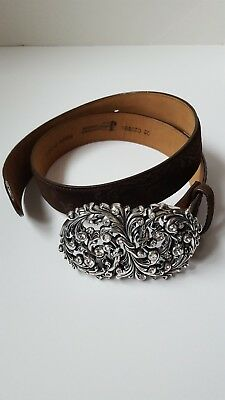 Justin Top Grain Cowhide Jeweled Buckle Leather Belt Men Size 32 C20898
