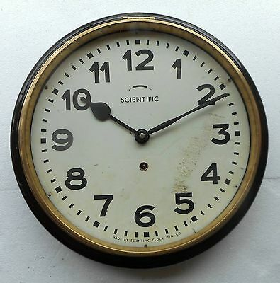 Antique Scientific Wall Clock working condition wood case with bezel made of