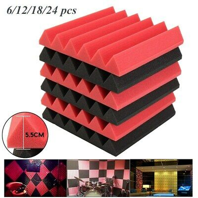 24Pcs Studio Acoustic Panels Tiles Sound Proofing Insulation Closed Foam Tiles