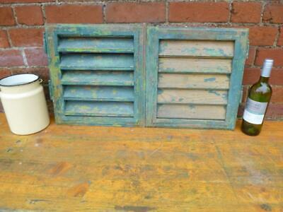 VINTAGE WOODEN SHUTTERS WINDOW   ANTIQUE FRENCH slightly odd size   FREE post