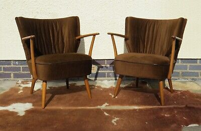 Pair Of Vintage Mid Century Vintage Cocktail Armchairs / Chairs Mar19-12