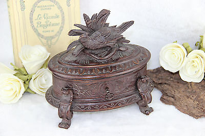 Antique German black forest wood carved bird jewelry box 1910 with key