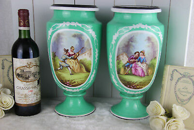 PAIR french Green vieux paris  Porcelain victorian romantic scene VAses 1900