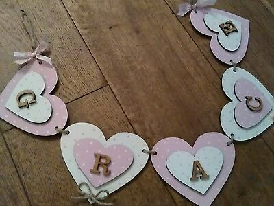 Personalised wooden name bunting..Children's bedroom deco...per letter