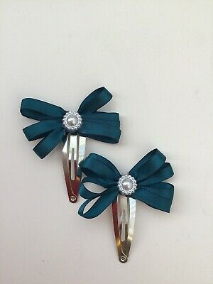 "X2 Wedding Flower Girls School Small 2"" Girls Teal Green Hair Bow Snap Clips"