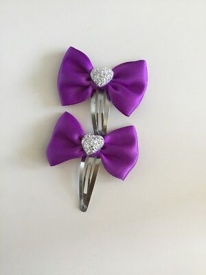 """X2 Small 2"""" Girls Purple Hair Bow Snap Clips Flower Girls School Sparkly Heart"""