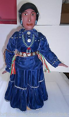 """Wood Carving, Navajo Woman, In Lovely Dress, Minor Tlc, 19 1/2"""" Piece, Nice!"""