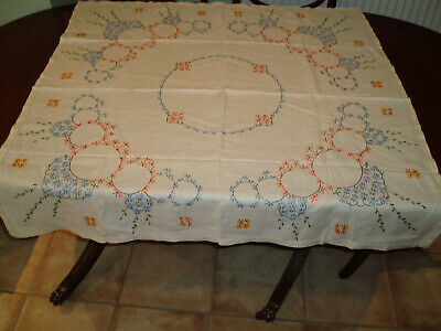 "VINTAGE LINEN EMBROIDERED TABLE CLOTH 42"" x 40"""