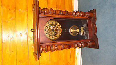 Antique Solid Wood Vienna Wall Clock with Key Small to Medium mantle carriage