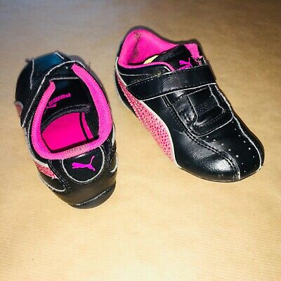 Puma Infant Size 6 Baby Girls Trainers Black Pink Sparkly Glitter Shoes Velcro
