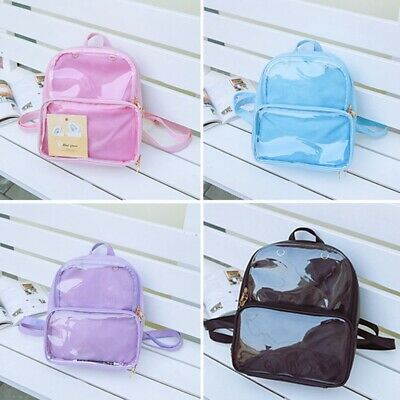 1x Trendy Women Girls Clear Transparent Pin Display Backpack School Bag New Gift