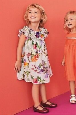 NEXT Floral Ruffle Dress Girls Cream Pink green Flower Print Dress 2-3 Year BNWT
