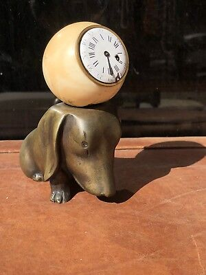 ART DECO Period Bronze DOG Figure Converted To Table Clock Verge Fusee Repeir