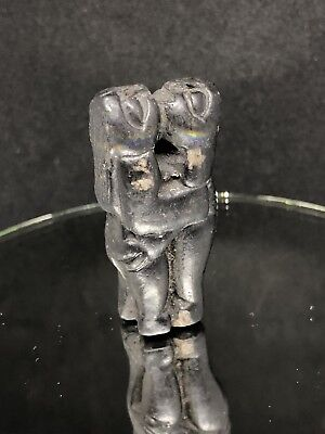 Ancient Chimu Blackware Erotic Couple Pre-Colombian Art Pendant Amulet