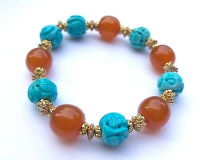 Chinese Butterscotch Pressed Amber Carved Turquoise Shou Dragon Beads Bracelet