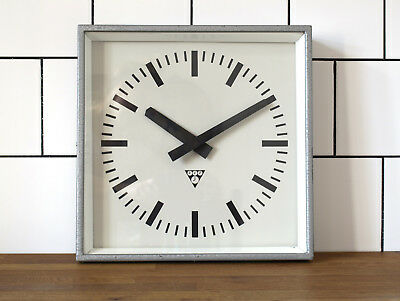 battery operated Pragotron wall clock - metal square - industrial, vintage, loft