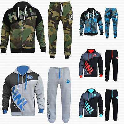 HNL Mens Tracksuit Set Fleece Hoodie Top Bottoms Gym Jogging Joggers Small - 4XL