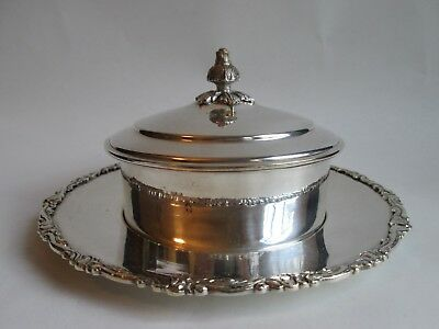 COVERED BUTTER DISH! Vintage AM 900 SILVER: South American FLORAL pattern LOVELY