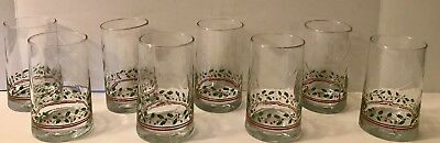 8 Vintage Arby's Libbey Holly Berry Gold Rim High Ball Christmas Glasses
