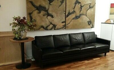 Mid Century Retro Danish 4 Seat Black Leather Mogensen Style Sofa  1960s
