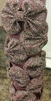 Wholesale joblot x10 Burgandy Tweed Big Bow Hairband Head Band girls accessories