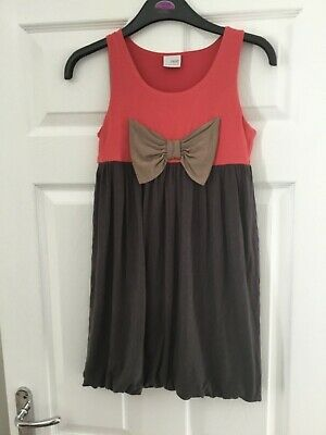 Next girls dress with bow detail coral and grey age 11 years