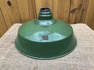 "14"" Vintage Green Industrial Gas Station/Barn Light Shade Enamel Benjamin"