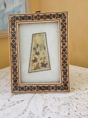 1970's TURKISH PERSIAN Inlaid Art Hand Painted on Bone Mosiac Frame EXQUISITE !
