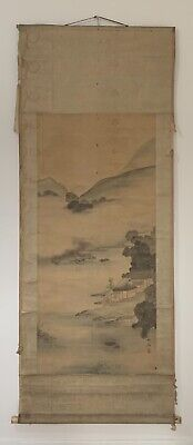 Meiji Era (1868-1912) Big Antique Japanese Hanging Scroll / Amazing Landscape