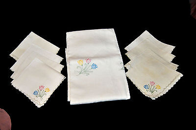 "Vintage Embroidered Tulips Linen Tablecloth (96"" x 63"") & 8 Napkins 16""  NICE!!"