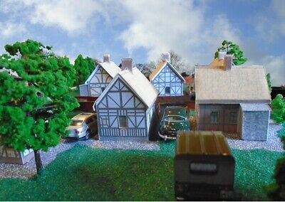 SIX old Tudor Thatched Cottages - Card Kits - HO/OO and N Gauge