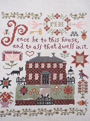 """Broderie point de croix """"Peace be to this house..."""