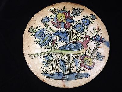 Antique 19Th C Persian Qajar Dynasty Islamic Polychrome Ceramic Tile  - Bird