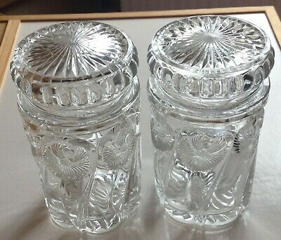 Pair of Glass Lidded Pickle Jars - lovely and decorative - few nibbles