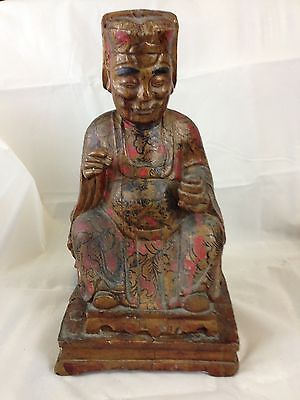 Antique Chinese Qing Dynasty Carved Wood Statue Gold & Red Lacquer