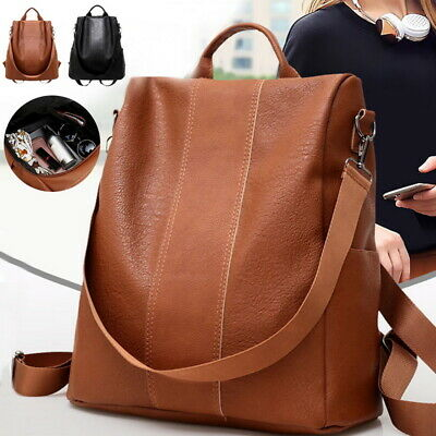 fa454b165ae Women Ladies Leather Backpack Anti-Theft Rucksack School Shoulder Bag BJ