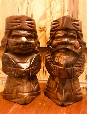 """Large Hand Carved Vintage Wooden King And Queen Royal Couple Statues 9"""""""
