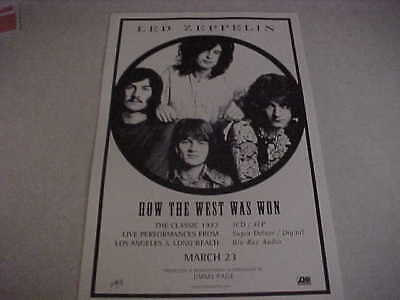 """Led Zeppelin """"How The West Was Won"""" PROMO ONLY POSTER - PERFECT CNDT"""