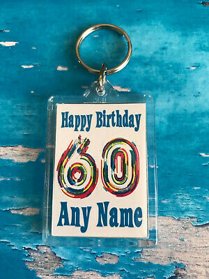 Personalised Birthday Keyring -Double sided - Blue - ADD ANY AGE and NAME