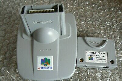 Lot of 2 Official GB Transfer and Controller Memory Pak Pack Nintendo 64 N64
