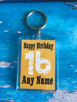 Personalised Birthday Keyring - Add NAME and Any AGE - Double sided