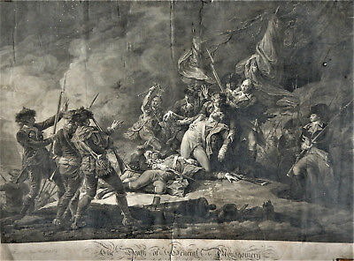 GRANDE GRAVURE ANGLAISE-Signée J.F.CLEMENS(1749-1831).Death of Gal MONTGOMERY.