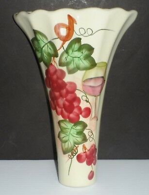 Hand Painted Art Pottery Wall Pocket Red Grapes, Green Leaves and Red Wine