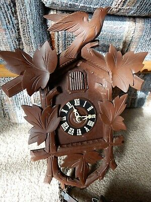 Vintage Genuine Black Forest Cuckoo Clock 8 Day Movement Made In Germany