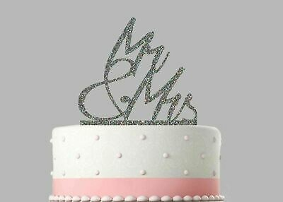 Wedding Acrylic Cake Decoration Mr and Mrs Glitter Topper.759