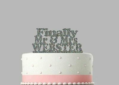 Wedding Acrylic Cake Decoration Finally Mr & Mrs Personalised Glitter Topper.754