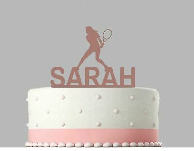 Woman Tennis Birthday Personalised Acrylic Cake Topper Rose Gold mirror.259